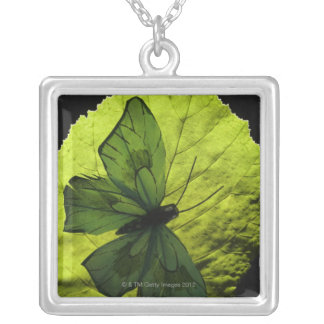 Butterfly on leaf silver plated necklace