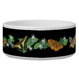 butterfly on leaf with raindrops and stars bowl