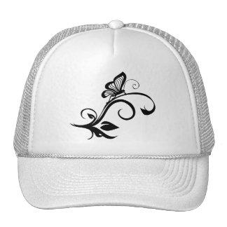 Butterfly On Leafy Vine Mesh Hats