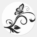 Butterfly On Leafy Vine Round Sticker