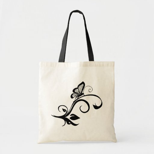 Butterfly On Leafy Vine Tote Bags