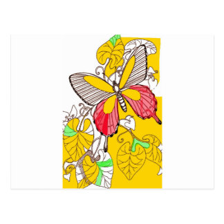 BUTTERFLY ON LEAVES POSTCARD