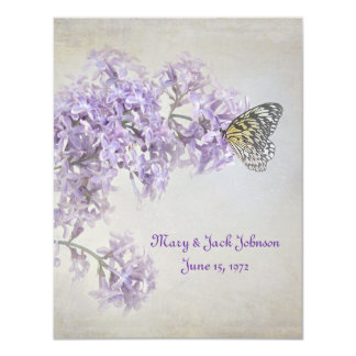"""Butterfly on Lilacs Vow Renewal 4.25"""" X 5.5"""" Invitation Card"""