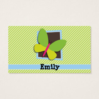Butterfly on Lime Green & White Stripes Business Card