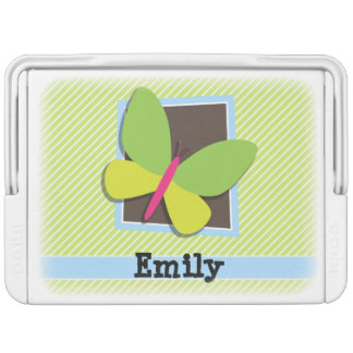 Butterfly on Lime Green & White Stripes Igloo Drink Cooler