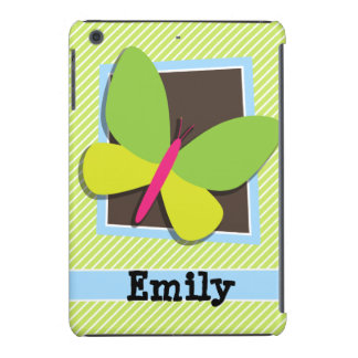Butterfly on Lime Green & White Stripes iPad Mini Covers