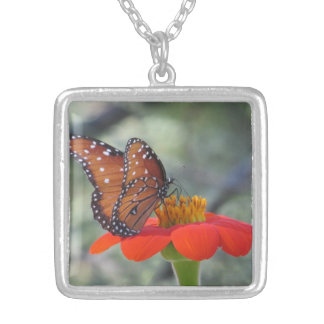 Butterfly on Mexican Sunflower Necklace