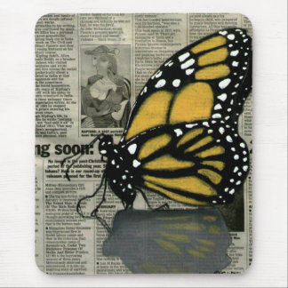 Butterfly on my Newspaper Mouse Pad