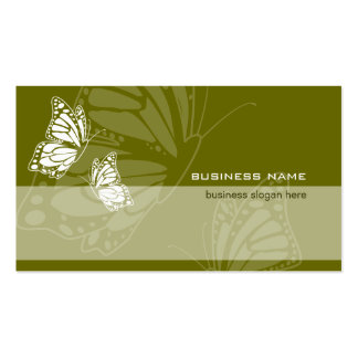 Butterfly on Olive Green Elegant Modern Simple Business Cards