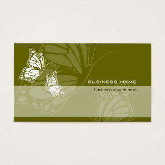Butterfly on Olive Green Elegant Modern Simple Business Card