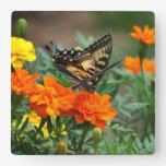 Butterfly on Orange and Yellow Flowers Wall Clock Square Wall Clocks