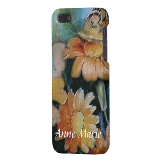 Butterfly on Orange Daisies with Your Name iPhone SE/5/5s Cover