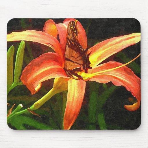 Butterfly on Orange Daylily art Mousepad