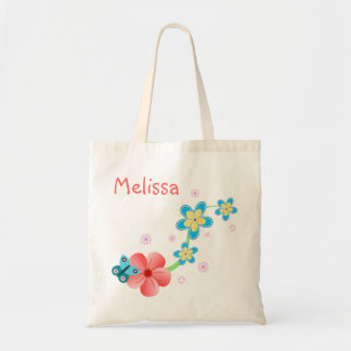 Butterfly on Pink and Blue Flowers Budget Tote Bag