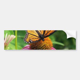 Butterfly on Pink Flower Bumper Sticker