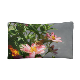 Butterfly on pink flower cosmetic bag