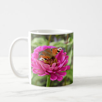 Butterfly on Pink Flower Classic White Coffee Mug