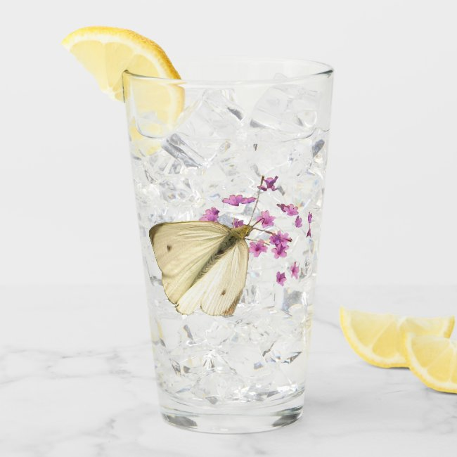 Butterfly on Pink Flowers Floral Glass Tumbler