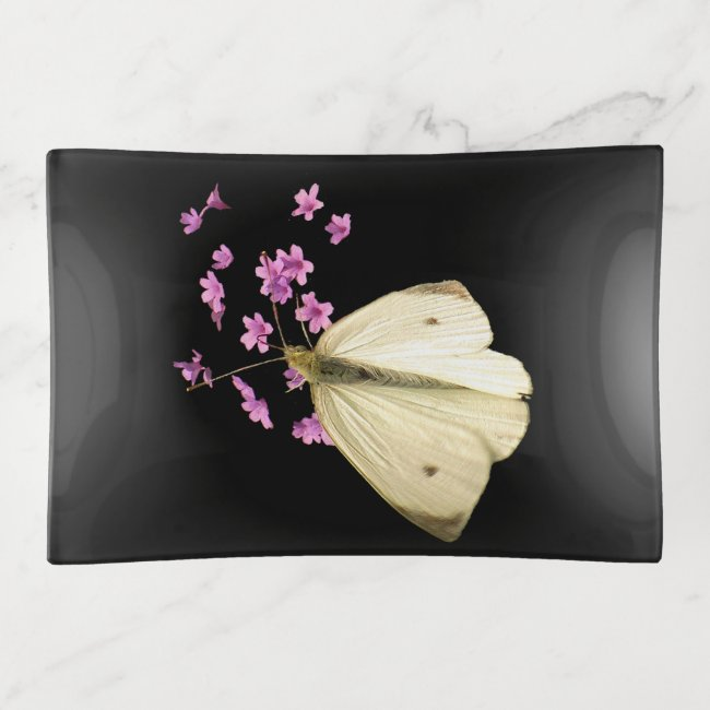 Butterfly on Pink Flowers Floral Trinket Tray