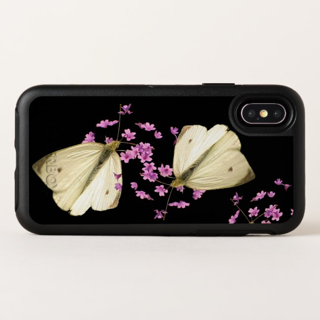 Butterfly on Pink Flowers OtterBox iPhone X Case