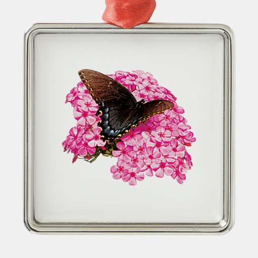 Butterfly on Pink Lantanas Christmas Ornament