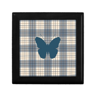Butterfly on Plaid Blues Brown Cream Jewelry Box