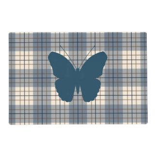 Butterfly on Plaid Blues Brown Cream Placemat