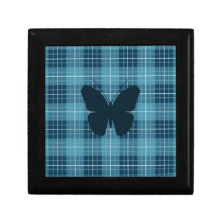 Butterfly on Plaid Blues Jewelry Box