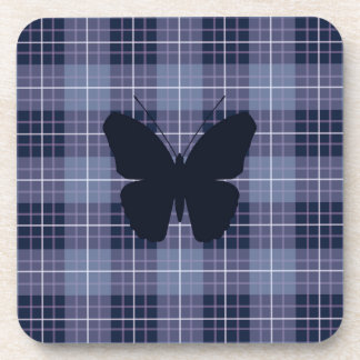 Butterfly on Plaid Blues & Purples Beverage Coaster