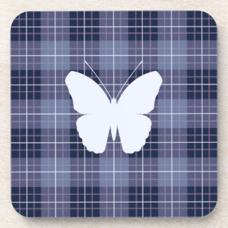 Butterfly on Plaid Blues & Purples II Beverage Coaster