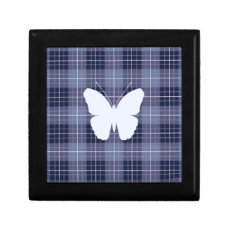Butterfly on Plaid Blues & Purples II Gift Box