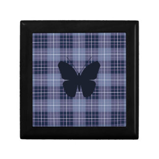 Butterfly on Plaid Blues & Purples Jewelry Box