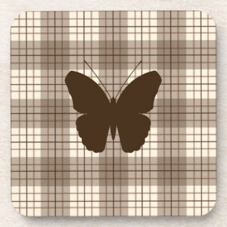 Butterfly on Plaid Browns & Cream Beverage Coaster