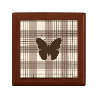 Butterfly on Plaid Browns & Cream Jewelry Box