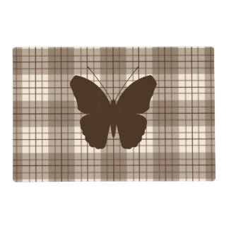 Butterfly on Plaid Browns & Cream Placemat