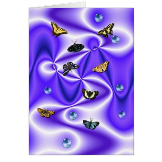 Butterfly on PUR-polarizes Silk with Pearls Card