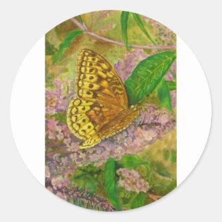Butterfly on purple butterfly bush Buddleia david Classic Round Sticker