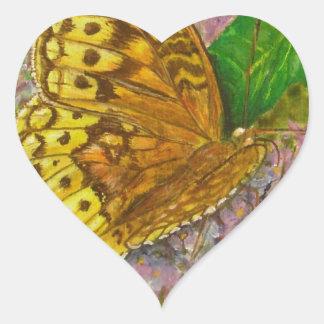 Butterfly on purple butterfly bush Buddleia david Heart Sticker