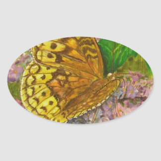 Butterfly on purple butterfly bush Buddleia david Oval Sticker