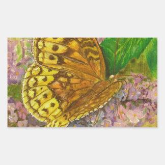 Butterfly on purple butterfly bush Buddleia david Rectangular Sticker