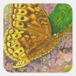 Butterfly on purple butterfly bush Buddleia david Square Sticker