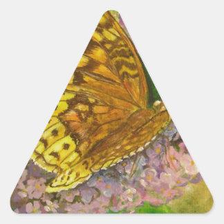 Butterfly on purple butterfly bush Buddleia david Triangle Sticker