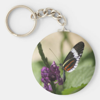 Butterfly on Purple Flower Keychain