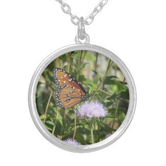 Butterfly on Purple Flower Necklace