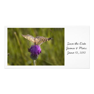 Butterfly on purple flower Save the Date Card
