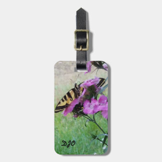 Butterfly on Purple Flowers. Customizable Bag Tag