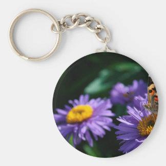 Butterfly on purple flowers keychain
