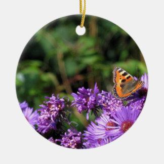 Butterfly on purple flowers ornament