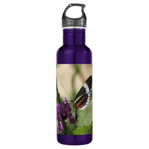 Butterfly On Purple Side Water Bottle