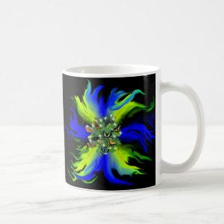 Butterfly on Rainbow blue green with stars, drops Tazas De Café